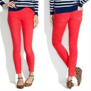 Madewell Coral Skinny Corduroy Pants 29